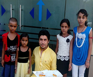 welcoming orphan children at hrone office